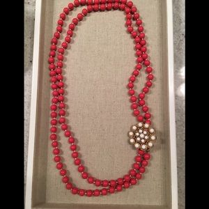 Stella & dot red beaded necklace with broach